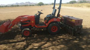 : Back actor for Trenches digging for electrical cabling, water pipes, drainage system etc. Using front end loader for: loading and moving sand and rolling compost. Uses 3 point hitch for various implements: Top dressing, road scraping with box grader, Fine seed planter for kikuyu grass planting. Turf cutter and basic renovations.