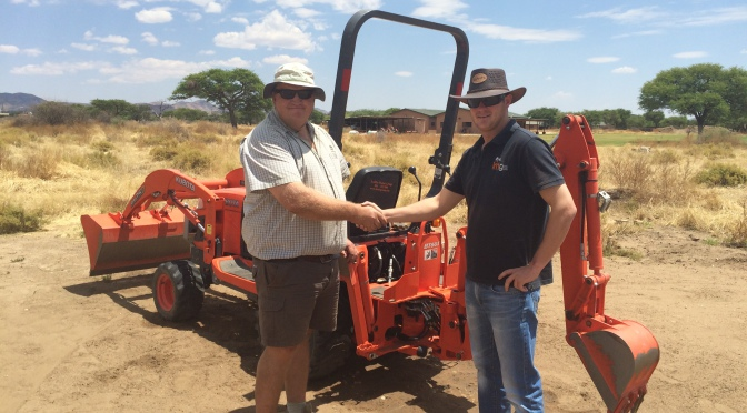 Kubota BX25 TLB revving it up in Namibia