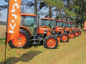 The tractors lined up for the handover. Photo: Joe Spencer