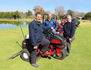 LEFT: (Left to right) Magalies Park's Manager manager William van Mierlo, course superintendent Willie Snyman and Smith Turf's Steve Mangold