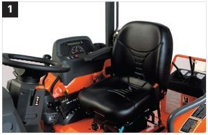 The L45's arm rests help reduce operator fatigue, especially when performing loader work