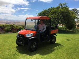 Mr Josias le Roux in his brand new Kubota RTV 900X