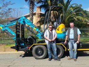 Jason and Stephen Ebing with their Kubota U30 mini excavator