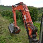 Mulcher mounted onto the Kubota excavator