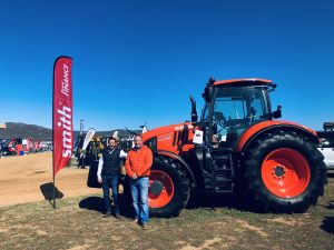 Dieter Bergmann (left), Kubota national sales manager and Tom Bloom, Director of agriculture at Smith Power Equipment, with the Kubota M7-172 Premium KVT at Nampo Cape in Bredasdorp.