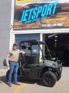 Leander Pienaar with the new Linhai 410