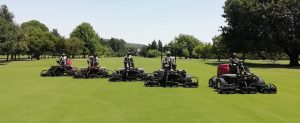 Cutting the fairway with Toro Reelmasters form Smith Power Equipment