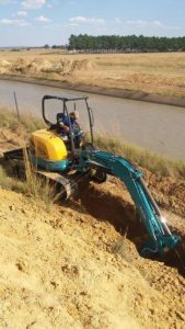 Pipe Jack Gauteng's Kubota U50 compact excavator at work on the pipe cracking and pipe laying contract for Rand Water Board
